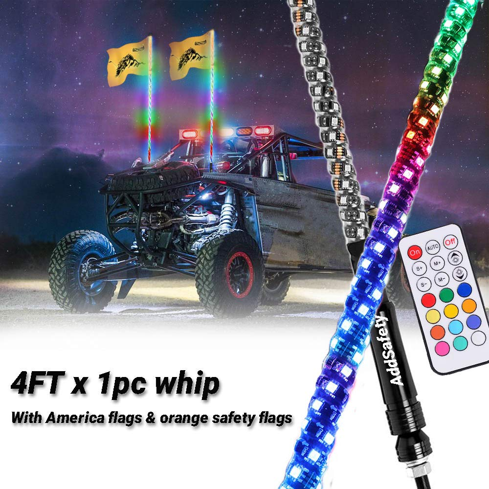AddSafety 2PCS 4FT RF Remote Control LED Whipping Light with Connect//Chasing Lights with Two Different Ways of Hanging Flags for Off-Road ATV UTV RZR Jeep Truck Dunes