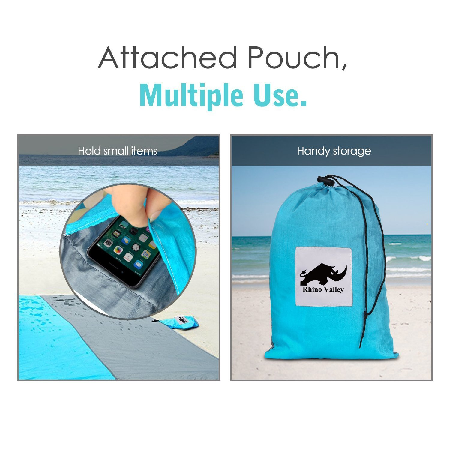 Extra Large 79 x 118 Quick Drying Lightweight Soft Mat with Travel Pouch Rhino Valley Huge Sand Free Compact Outdoor Beach Picnic Blanket Blue