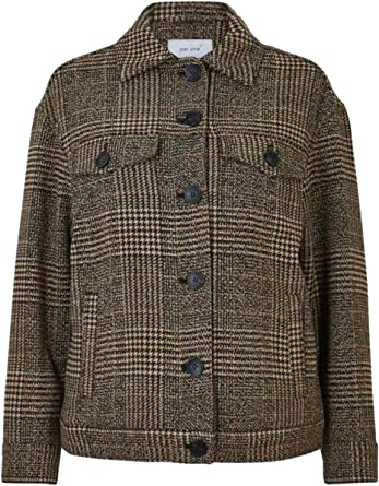 M/&S Per Una Oversized Wool Blend Checked Jacket Size 20 RRp £69