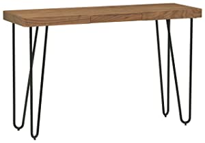 "Rivet Hairpin Wood and Metal Tall 29.5"" Console Bar Table, Walnut and Black"