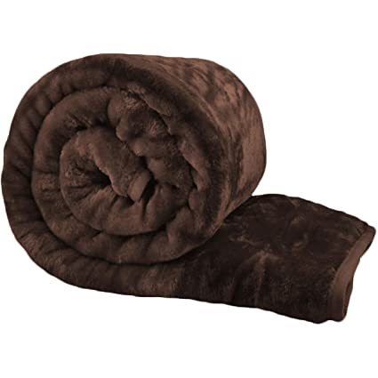 Bliss Home Living Faux Fur Mink Throw Blanket Soft Warm Thick Bed Sofa Double King Black, Double 150cm x 200cm