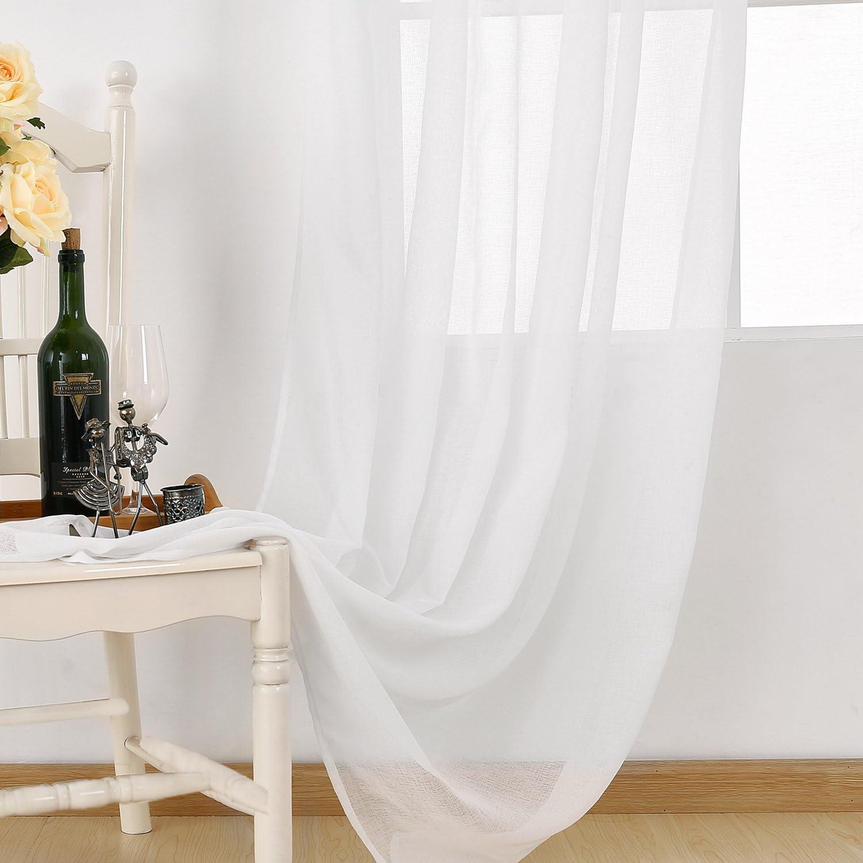 Tissu 140x175cm Deconovo Rideau Voilage Doux Translucide avec Pattes pour Chambre Salon Fen/être Int/érieur D/écoration Ext/érieur L/'h/ôtel 1 Pcs Blanc