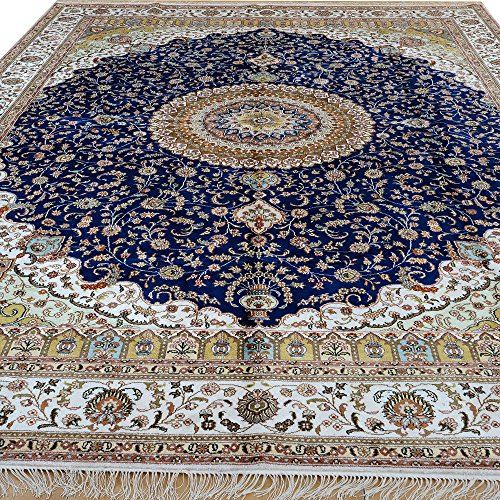 Yilong 9'x12′ Hand Knotted Oriental Kashmir Silk Rug Vintage Floral Traditional Handmade Carpet for Living Room (9-Feet…