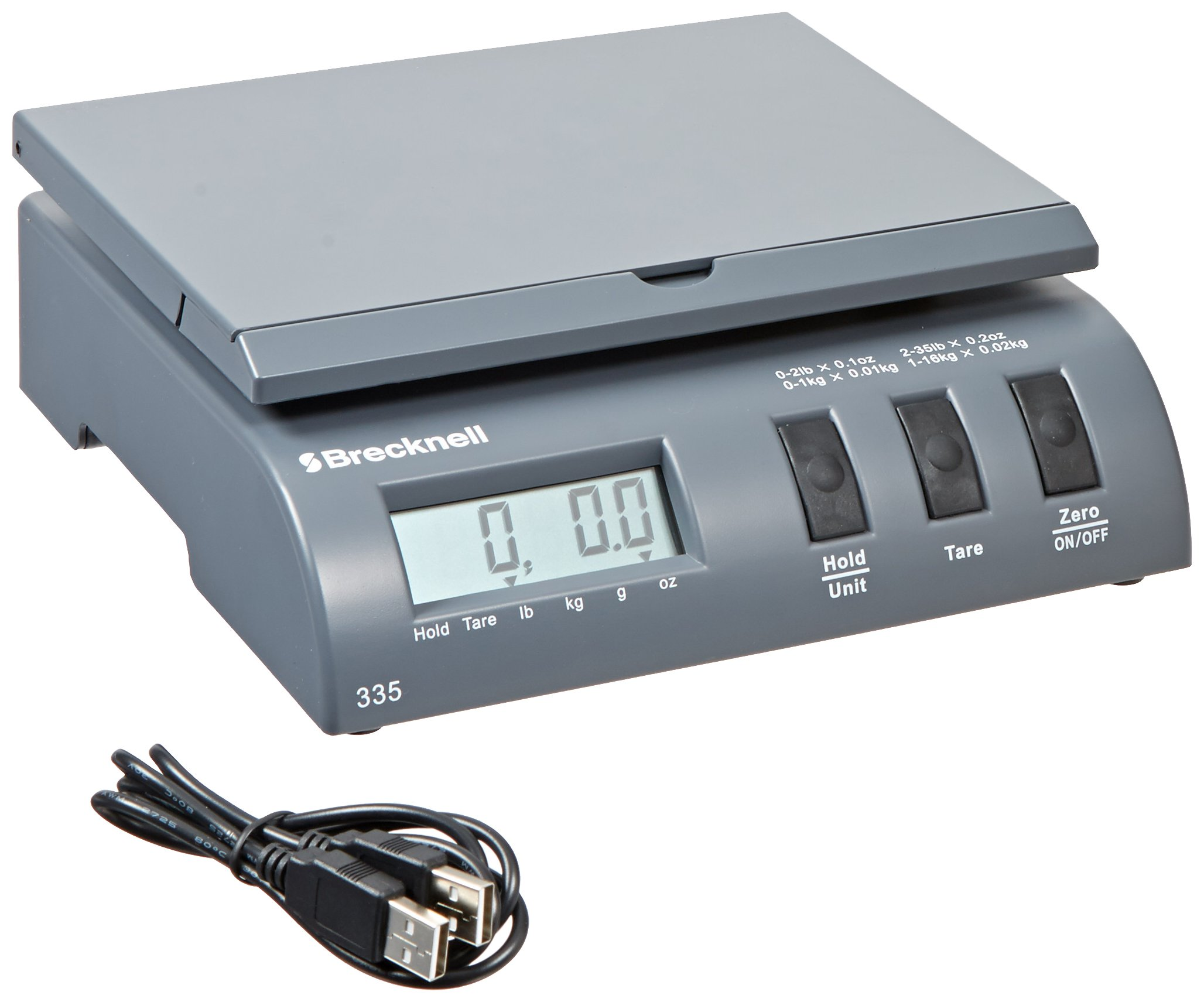 Brecknell 335-35 Electronic Postal Office Scale, 35lb/16kg Capacity, 0.2oz/5g Readability