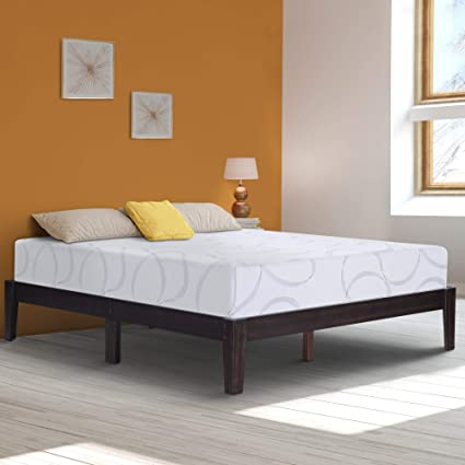 Ecos Living 14 Inch High Rustic Solid Wood Platform Bed with Natural  Finish/No Box Spring/No Squeak, Dark Brown, King