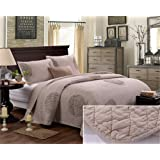 3pcs Dot Bedding Quilted Bedspread Coverlet Pillowcase Set Champagne Queen Oversized