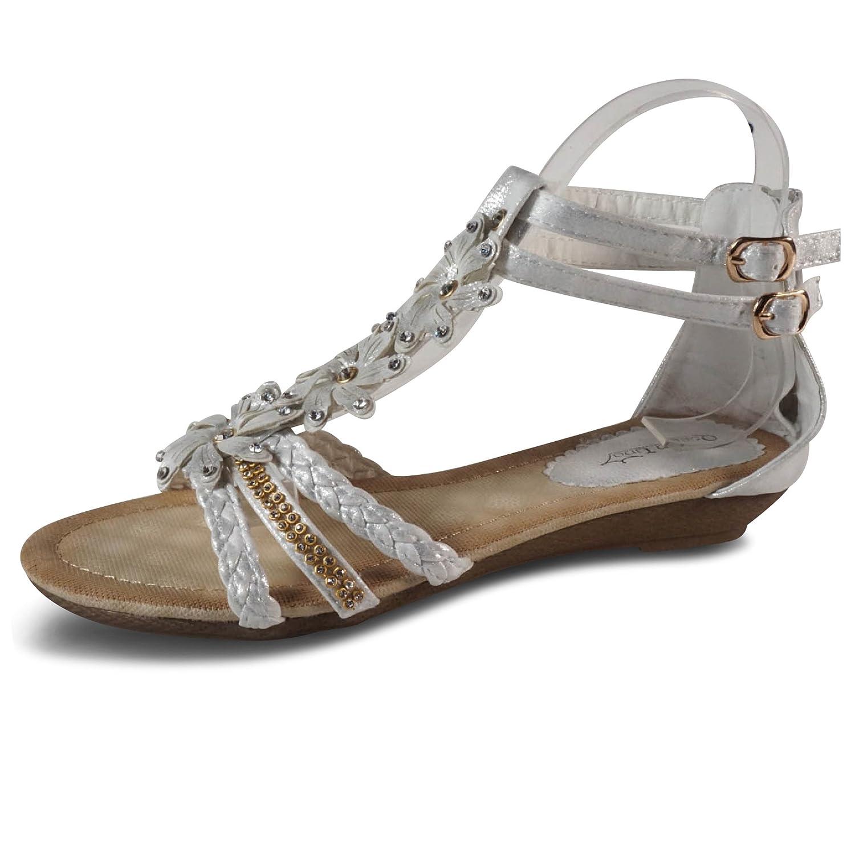 Damen Sandalen Sandaletten ST98 Keilabsatz Blumen Glitzer Zehentrenner 40 EU  Silber 1ea56823eb