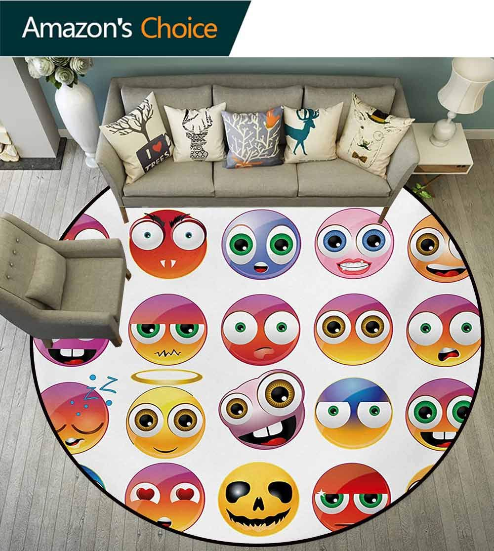 RUGSMAT Emoji Modern Machine Round Bath Mat,Rainbow Colored Cartoon Like Smiley Face Expressions Sad Happy Angry Fierce Art Print Non-Slip No-Shedding Kitchen Soft Floor Mat,Diameter-51 Inch by RUGSMAT (Image #2)