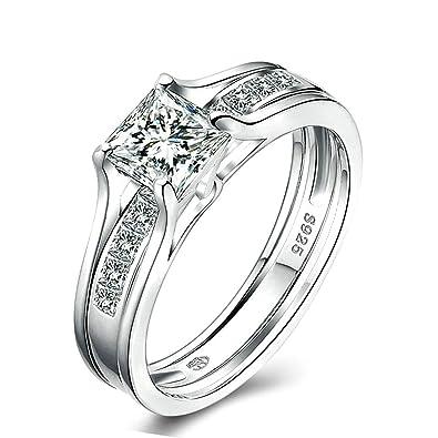 Adisaer boda anillos para mujer anillo de plata solitario anillo 4-Prong corte princesa circonitas cúbicas tamaño 6 - 8: Amazon.es: Joyería