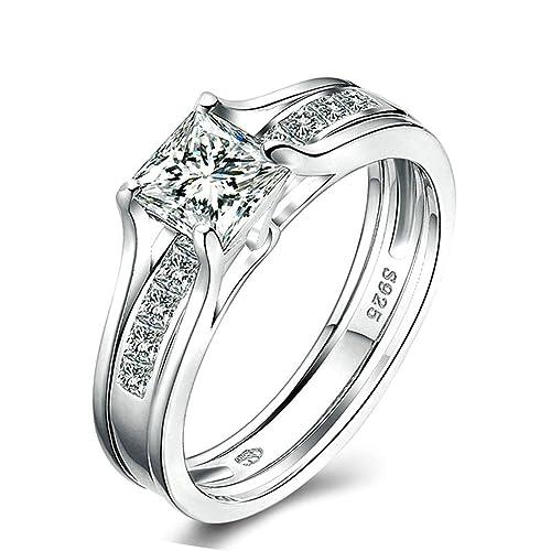Adisaer boda anillos para mujer anillo de plata solitario anillo 4-Prong corte princesa circonitas