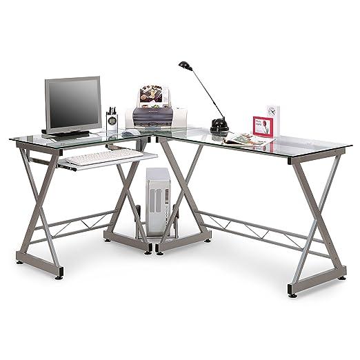 Office Marshal® Cristal mesa de ordenador y escritorio, Yale, de ...