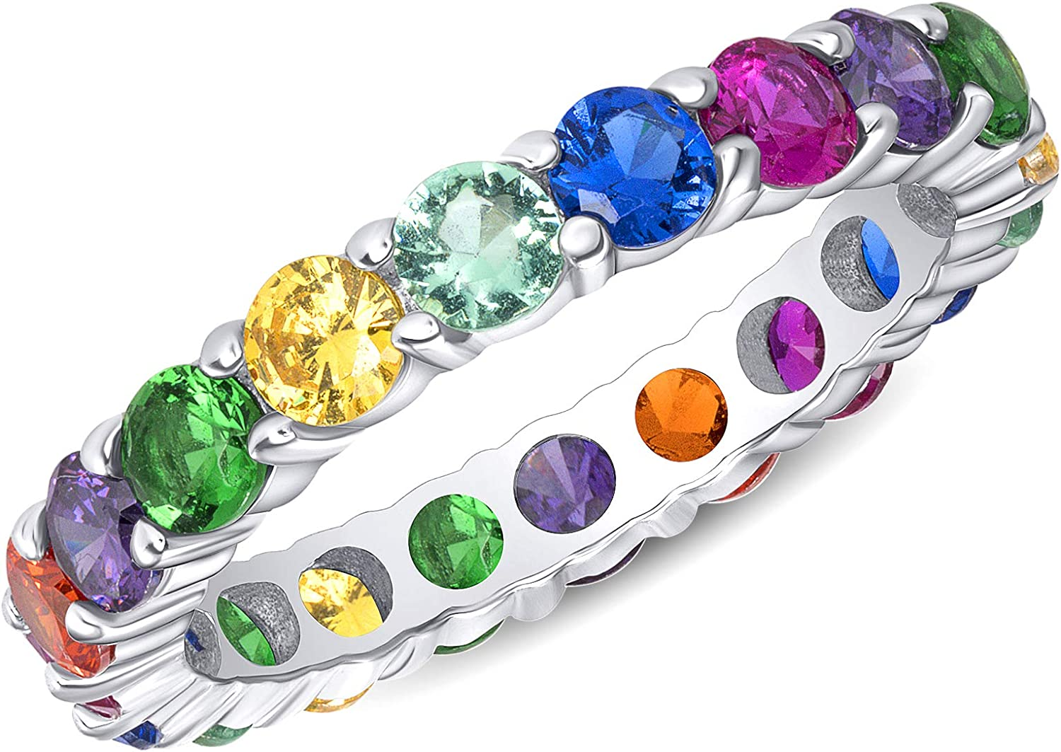 Jewelry by Debbie 925 Sterling Silver Rainbow Multi Color Cz Eternity Promise Wedding Band 3.5mm Ring Rhodium Plated