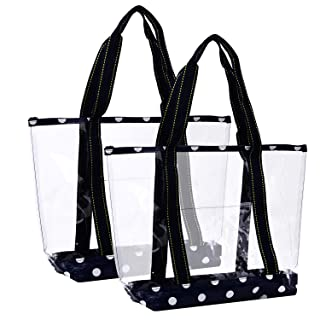 VENO 2 Packs Large Clear Bag, Transparent Vinyl PVC Tote Bag, Long Shoulder Handbag with Zipper Closure for Stadium, Event, Outdoor, Beach, Pool, Work, Sports Games, Shopping, Grocery (BLU)