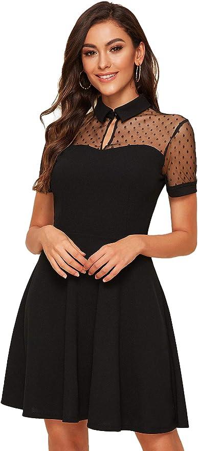 DIDK Vestido de encaje para mujer, elegante, minivestido, elegante, línea A, vestido de fiesta, cintura alta, de red, de un solo color, plisado, sexy, corto