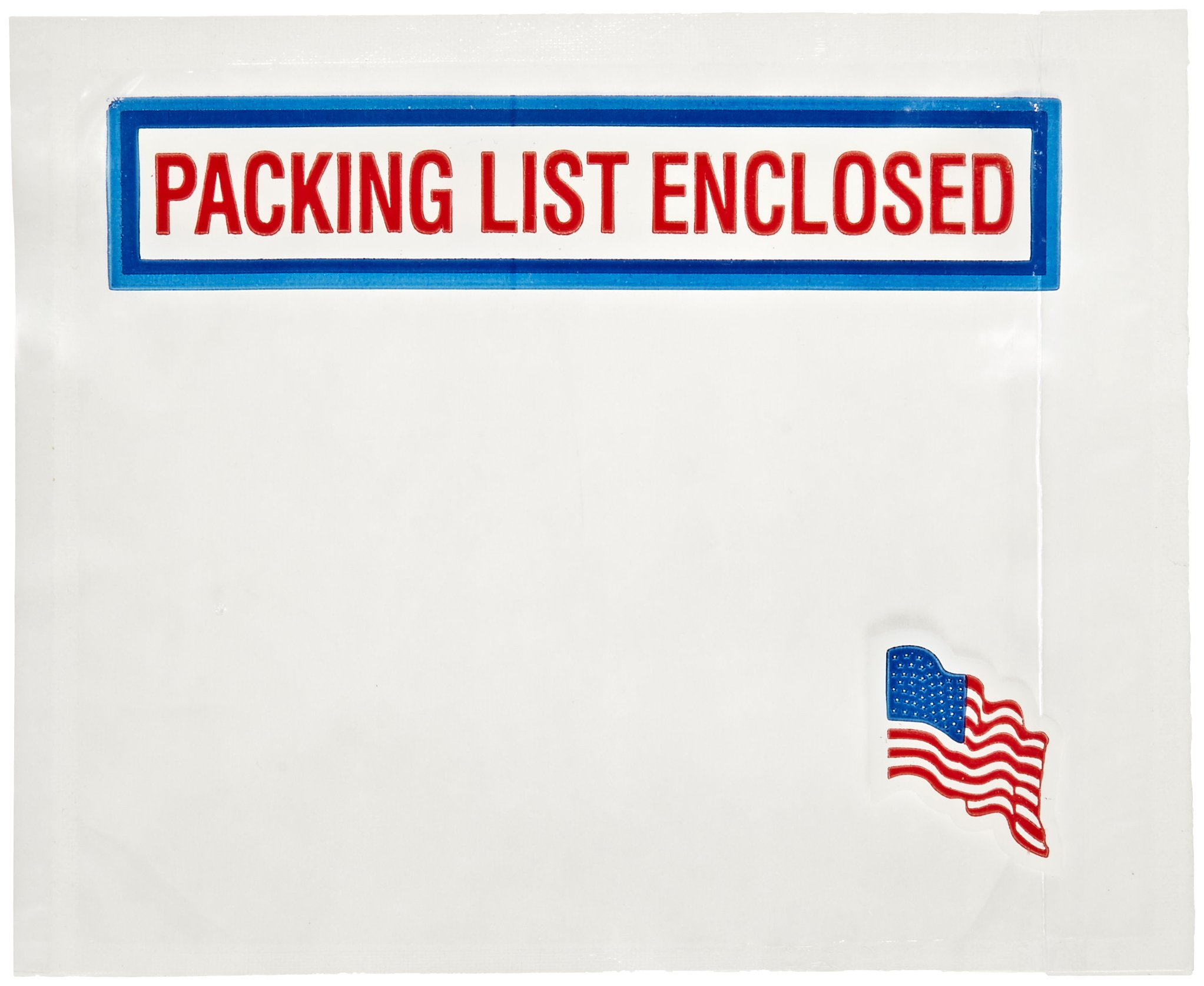 Nifty Products PPE6AF Packing List Envelope, American Flag Imprint ''Packing List Enclosed'', 5-1/2'' Length x 4-1/2'' Width, Red/White/Blue (Case of 1000) by NIFTY