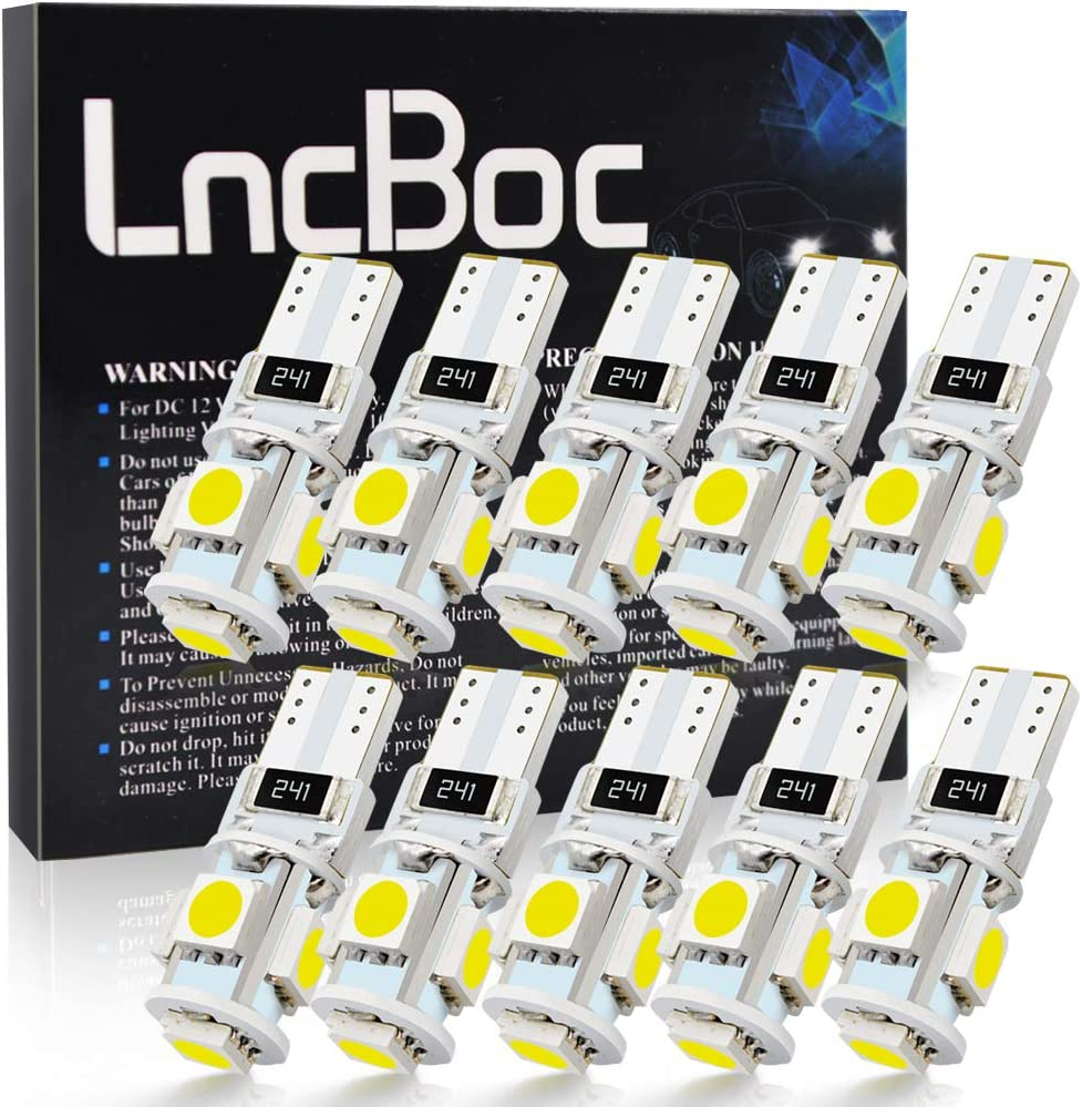 LncBoc Bombillas LED T10 Coche W5W 194 168 2825 501 LED CANBUS 5SMD 5050 LED 6000K Blanca Lamparas Para Coche Interior Luces Matricula Posicion Laterales Iluminación Bombilla 12V Blanco (10pcs)