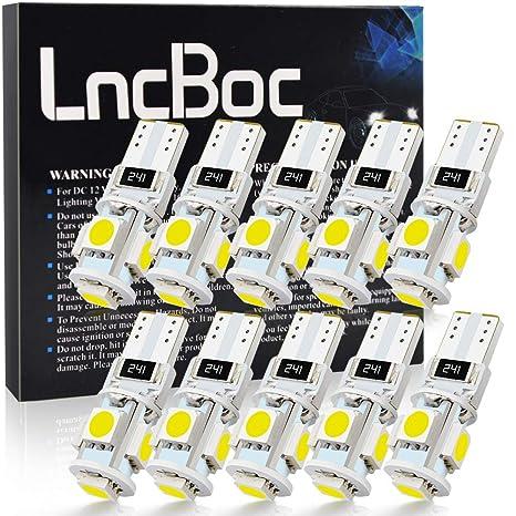 LncBoc Bombillas LED T10 Coche W5W 194 168 2825 501 LED CANBUS 5SMD 5050 LED 6000K