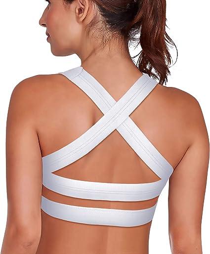 TALLA XL. SHAPERX Mujeres Desmontables Copas Cushion Apoyo Deporte Bra Yoga BH Strappy Cross X-Back Cuello Colgante