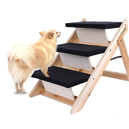 Homdox Wooden Folding Pet Dog Steps Stairs Home Pet Animal Dog Ramp 3 Step  Stairs Steps
