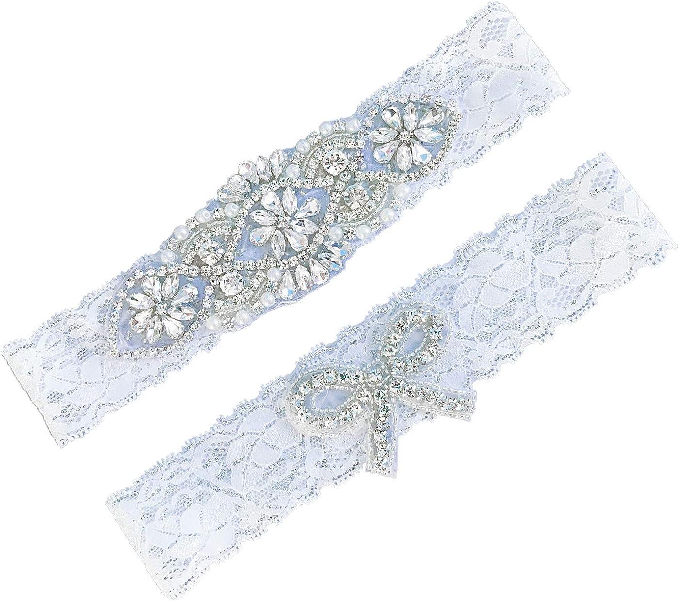 Bridal Garter Set Handmade Custom Garter Wedding Garter Daimond Applique Garter Wedding Rhinestone Garter Beaded Garter GTA0007