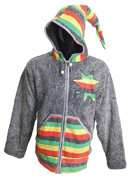 Rasta Chaqueta de punto hippie stonewashed Chaqueta con capucha zipfel para hombres, tamaño/Size: L: Amazon.es: Ropa y accesorios