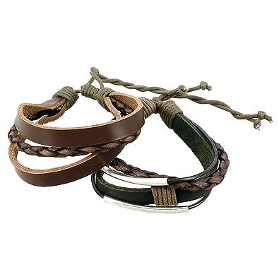 magasin en ligne 4a7c3 c4c75 indien Cuir Corde Bracelet Noir et marron pour homme dégradé ...