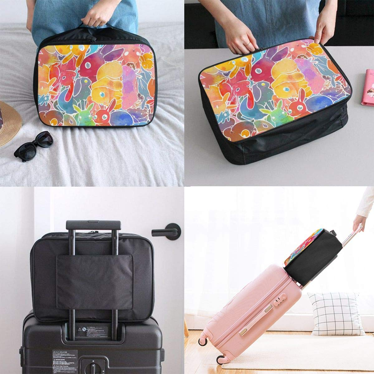 Travel Fashion Lightweight Large Capacity Duffel Portable Waterproof Foldable Storage Carry Luggage Tote Bag Colorful Rabbit Bunny