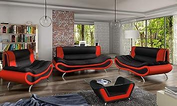 Chloedesign Ori Canapes Simili Cuir Noir Et Rouge Unique