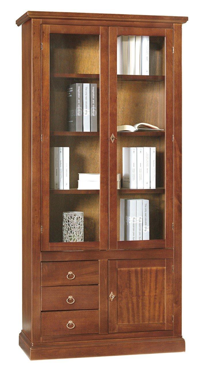 Libreria//Vetrina Arte Povera 3 Porte 3 Cassetti Tinta Noce W388//N Lo Scrigno Arredamenti
