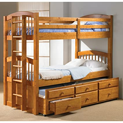 Amazon Com Donco Twin Over Twin Captains Trundle Bunk Bed Kitchen