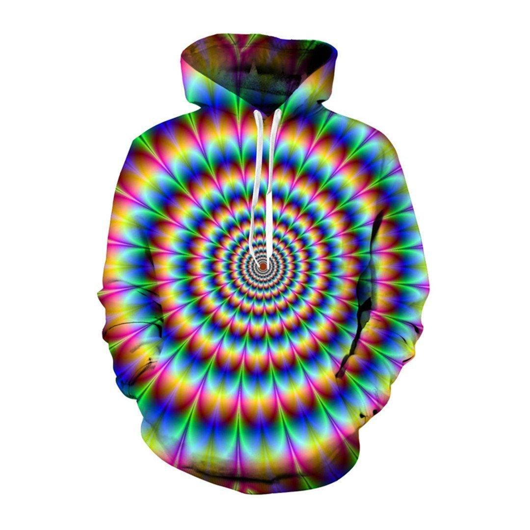 LJFKDFSC Funny Stripe Hypnotic 3D Print Full Sleeve Hoodie