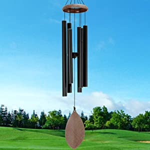 ELYXWORK Large Wind Chimes Outdoor Deep Tone, 36 Inch Memorial Wind Chimes Tuned Soothing Tone, Sympathy Gift for Loss of Loved One, Patio, Garden, Home décor (Black)