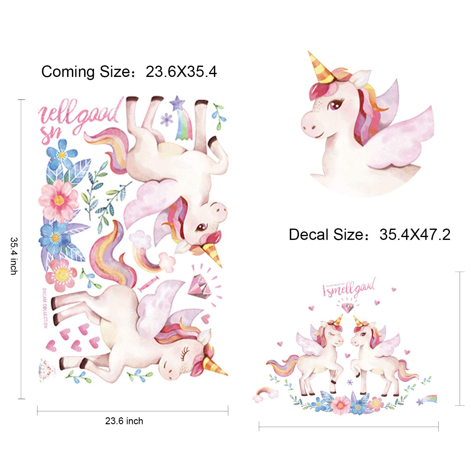 SUPPINNER Rainbow Horse Pink Unicorn Sticker Fairytale Wall Decals for Girls Bedroom Home Decor Decorations Unicorn Wall Decal Unicorn-2