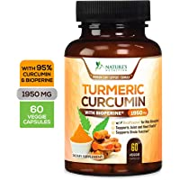 Turmeric Curcumin Max Potency 95% Curcuminoids 1950mg with Bioperine Black Pepper for Best Absorption, Made in USA, Anti-Inflammatory Joint Relief, Turmeric Pills by Natures Nutrition - 60 Capsules