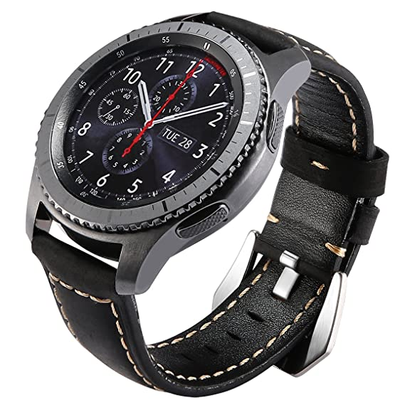 Gear S3 Bands Leather, Maxjoy S3 Frontier Classic Watch Band, Galaxy Watch 46mm Bands 22mm Leather Strap Replacement Wristband with Stainless Steel ...