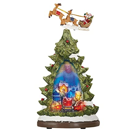 collections etc motion christmas tree village scene tabletop figurine