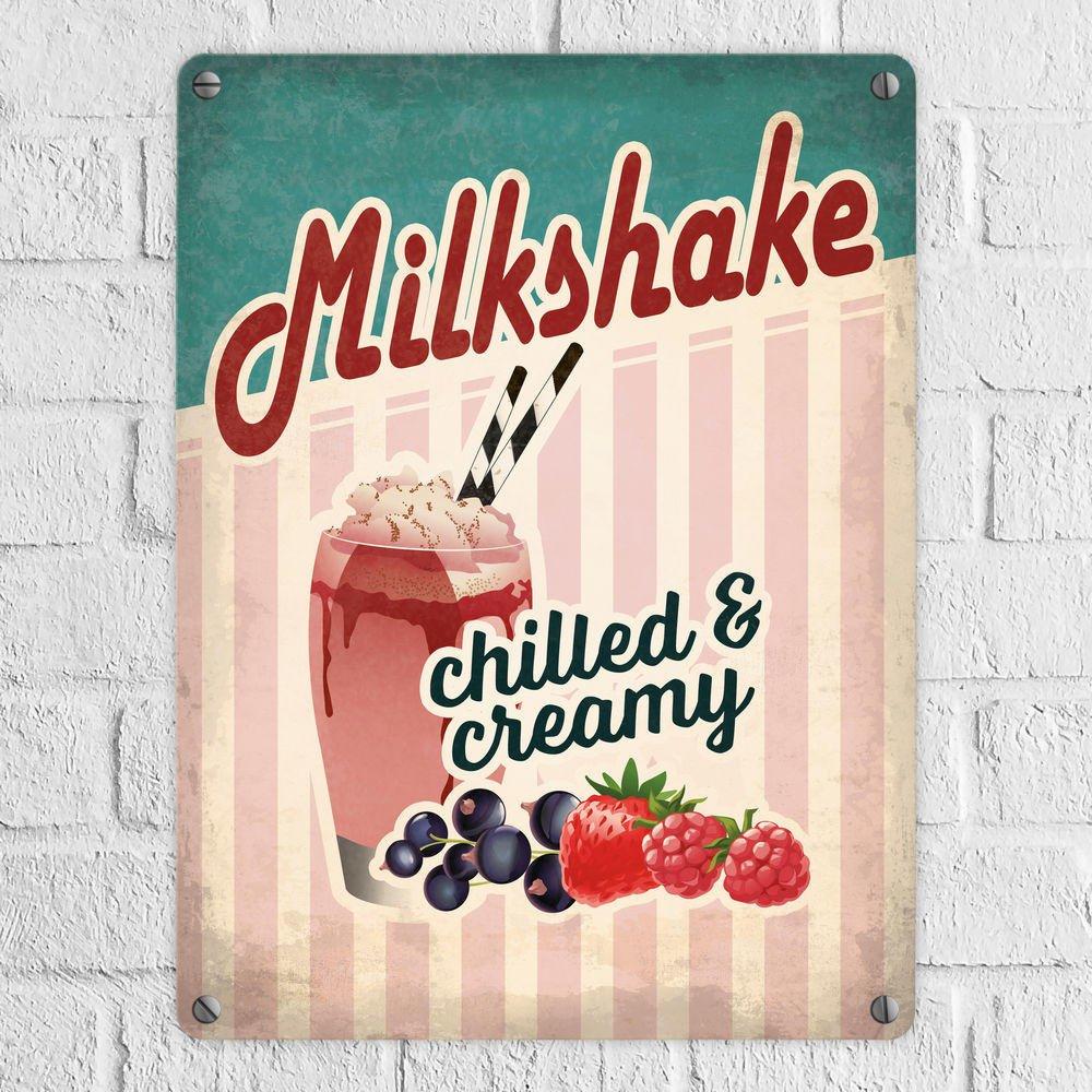 Metallschild mit American Diner Classics - Milkshake Motiv - ein ...