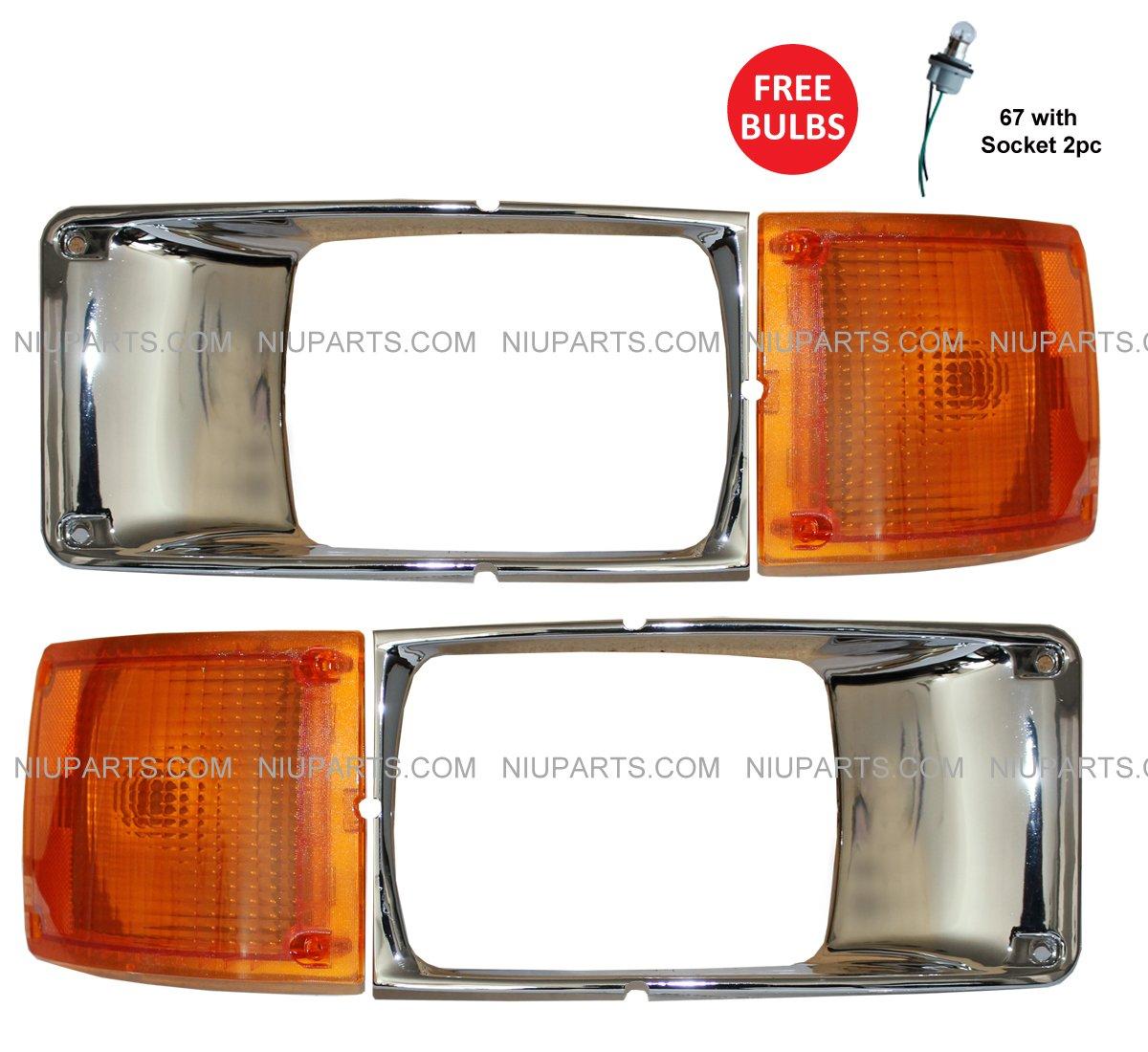 Headlight Lamp Bezel Chrome and Corner Trun Signal Light - Driver and Passenger Side (Fit: International 3800 4700 4800 4900 8100 8200) NIUPARTS