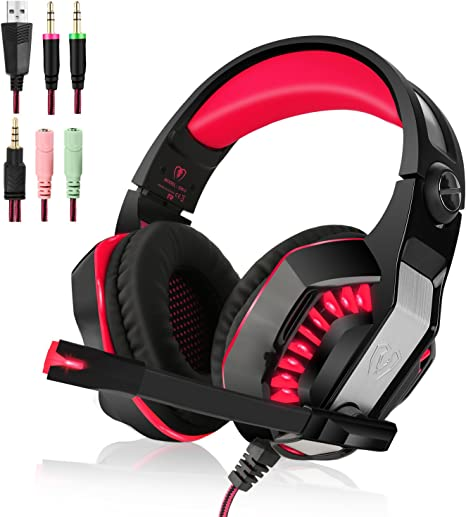 Beexcellent 3.5mm Gaming Headset para PlayStation 4, Xbox One, PC, Portátiles, Smartphones, Red: Amazon.es: Informática