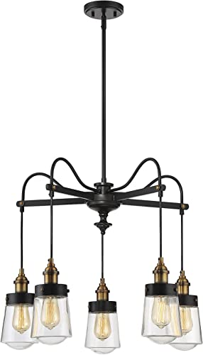 Savoy House 1-2060-5-51 Macauley 5 Light Chandelier in Vintage Black w Warm Brass Finish
