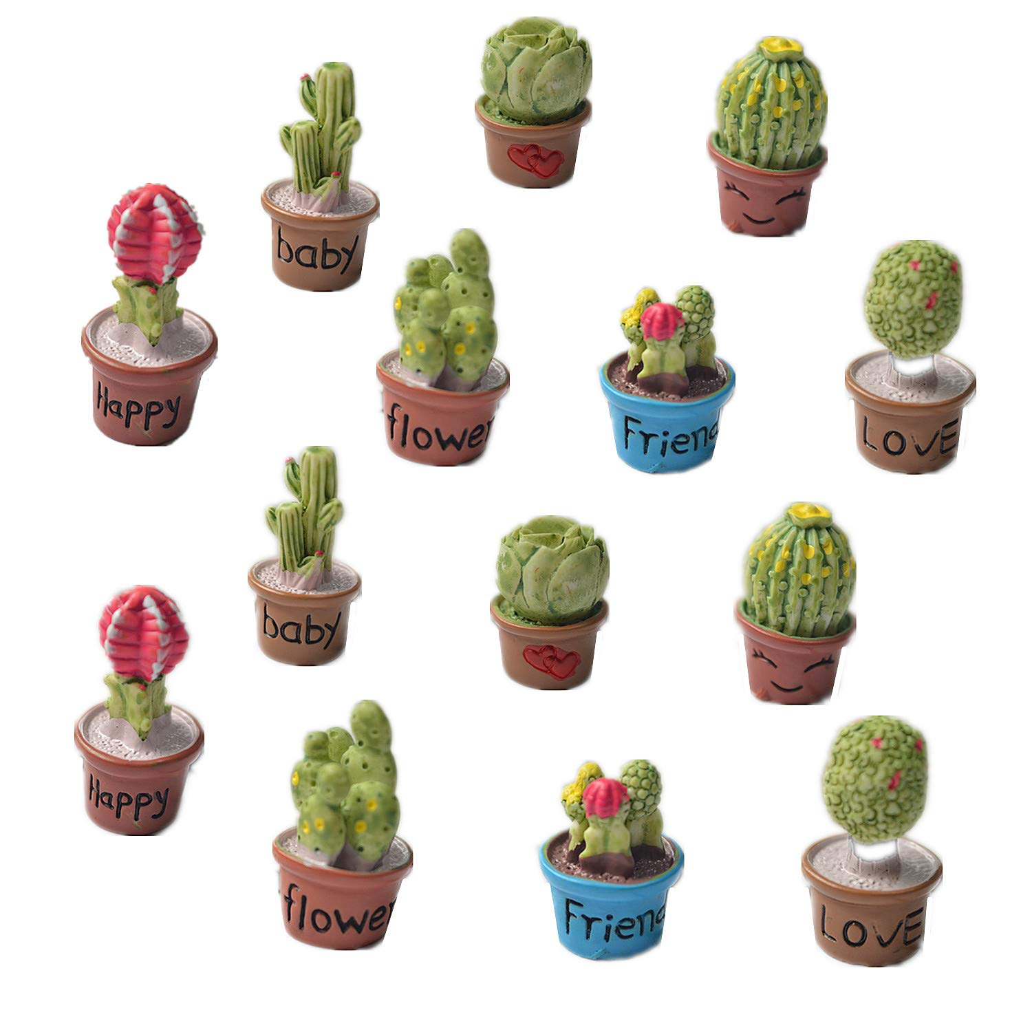Zhiheng Set of 14 Cactus Flower Pot Succulent Plants Mini Garden Fairy Garden Kits Miniature Ornament Accessories Set for Dollhouse Supplies Scrapbooking DIY Outdoor Decorations Home Decor