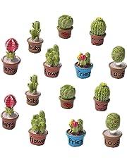 Zhiheng Set of 14 Cactus Flower Pot Succulent Plants Mini Garden Fairy Garden Kits Miniature Ornament Accessories Set for Dollhouse Supplies Scrapbooking DIY Outdoor Decorations Home Decor