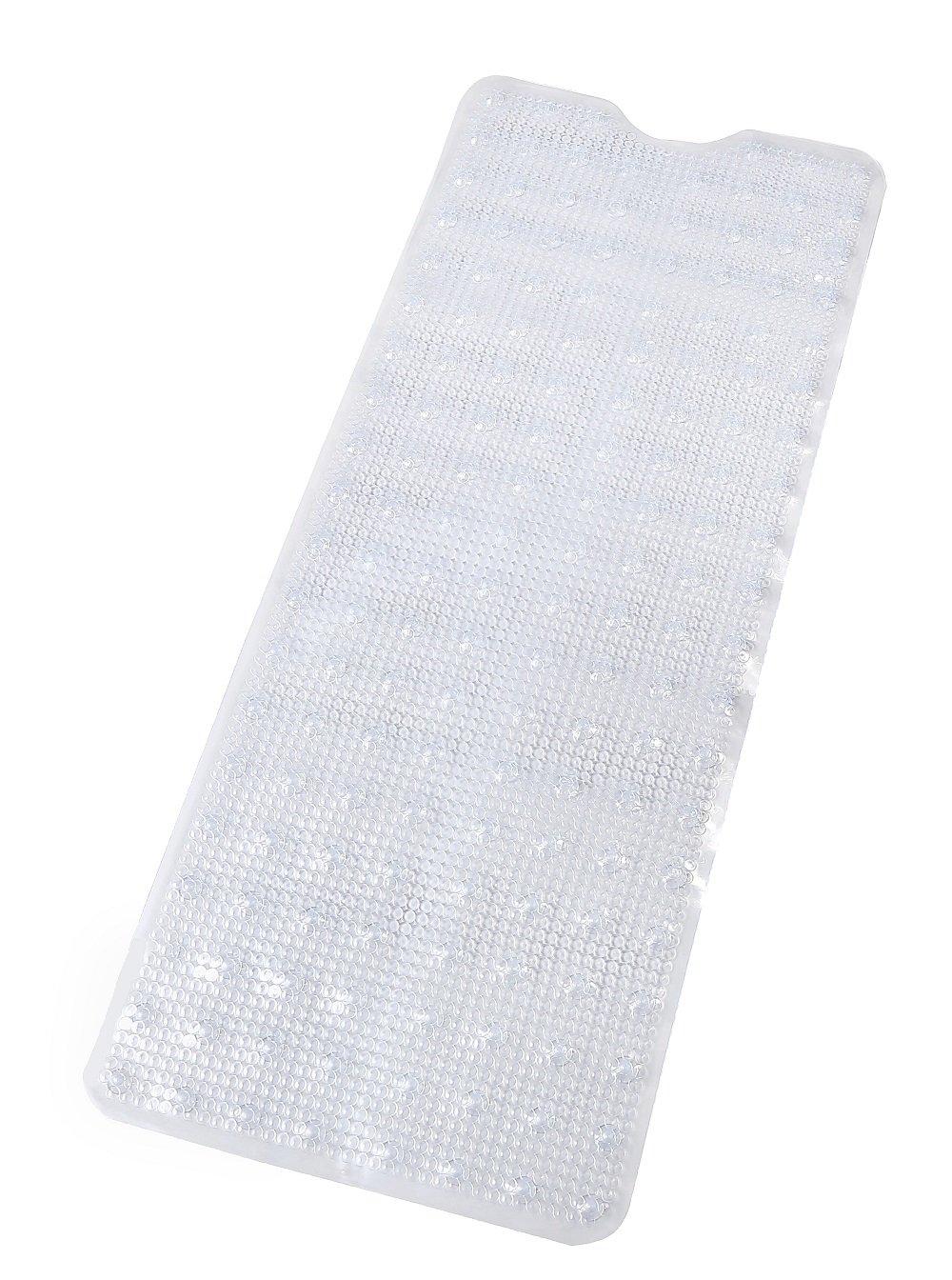 "Moon Castle Non-Slip Extra Long Pebbled Shower Mat, Machine Washable, Mildew Resistant, Rectangle 39"" x 16"", Clear"