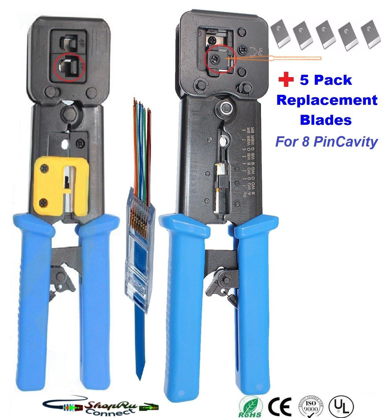 ボーナス5パック( rj45 8ピンキャビティ)ブレード交換コンボパックProfessional Heavy Dutyクリンプツール、クリンプカッターrj11 rj12、rj45コネクタ圧着ツールワイヤカッター、ケーブルストリッパー B07B42CQD8