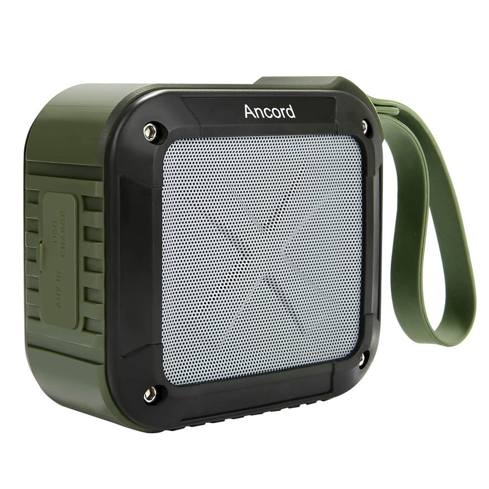 Ancord Waterproof Bluetooth Speaker with FM Radio IPX6 Portable for Outdoor 12 Hours Playtime Silicon Strap for Hanging (New, Green)