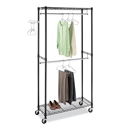 Whitmor Supreme Double Rod Garment Rack Rolling Clothes Organizer Black With Chrome