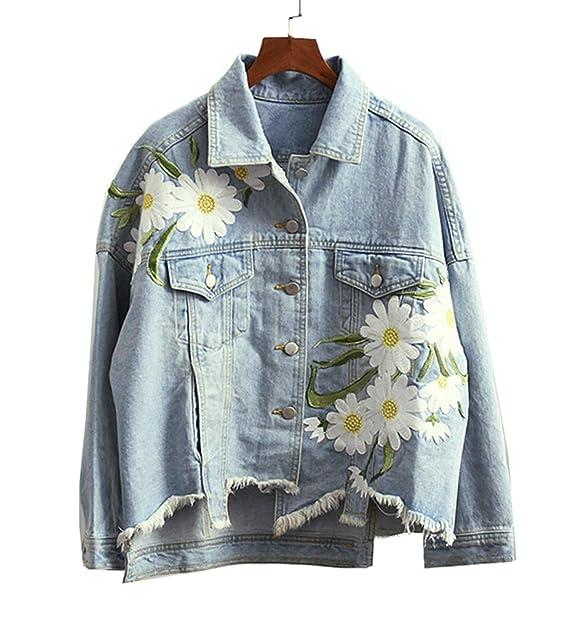 giacca jeans donna ricamata