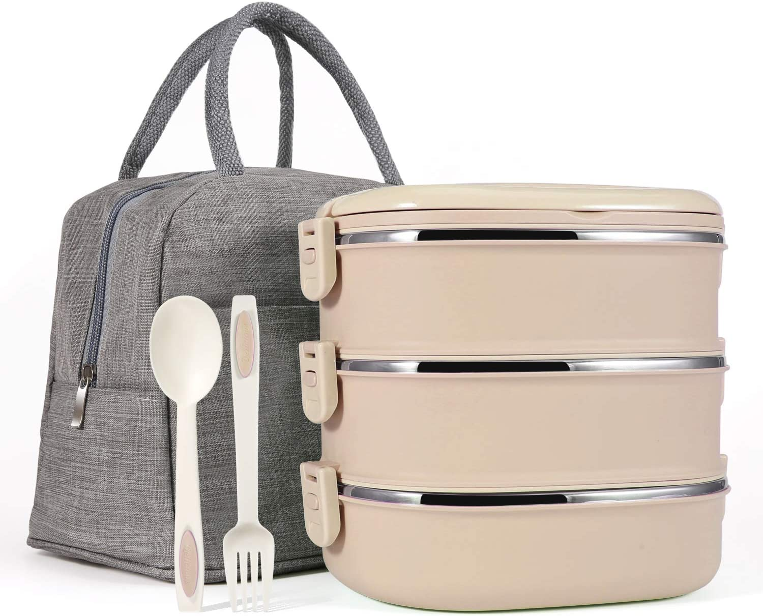 Mr.Dakai Stackable Bento Lunch Box for Kids/Adults, 3 Tier Insulated Stainless Steel Leakproof Food Container with 600D Oxford washable Lunch Bag and Fork & Spoon, BPA Free - Khaki
