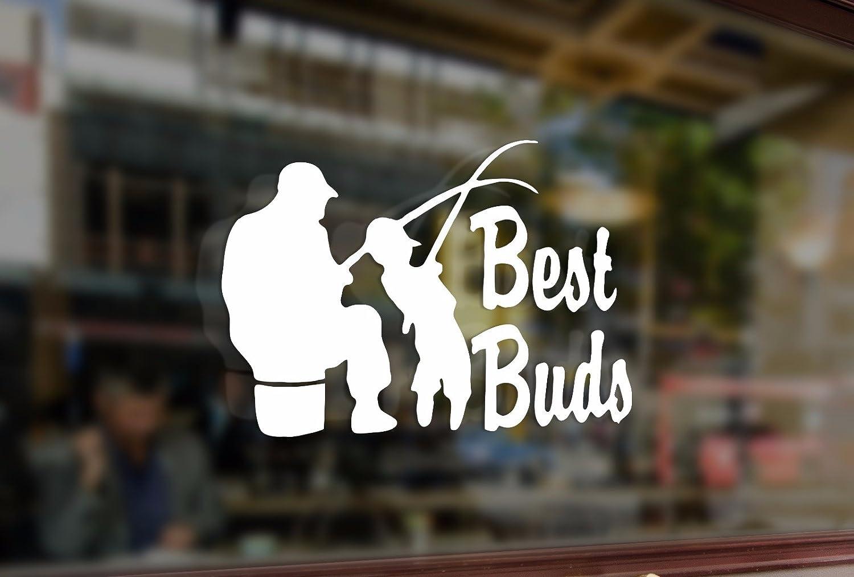 25cm Fishing Best Buds Dad Grandpa Son Fisherman Vinyl Stickers Funny Decals Bumper Car Auto Computer Laptop Wall Window Glass Skateboard Snowboard Bananasticker