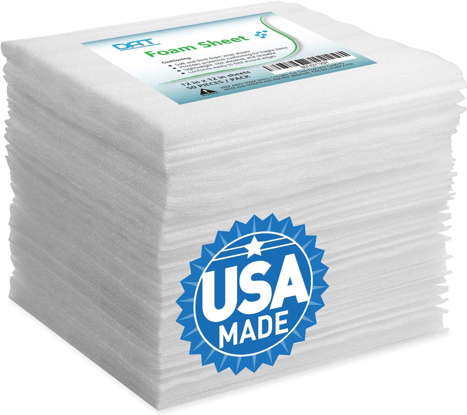 """Foam Wraps, DAT 12"""" x 12"""" Foam Wrap Sheets Cushioning for Moving Storage Packing and Shipping Supplies, 50-Pack (White) (B0742Y1X9Y): Office Products"""